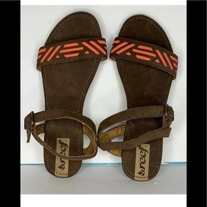 Reef Brown Coral  Ankle Strap Sandals 7 Faux Suede